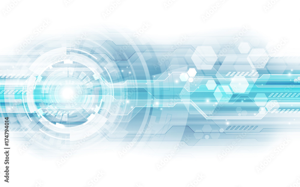 Fototapeta Abstract vector blue technology concept. background illustration