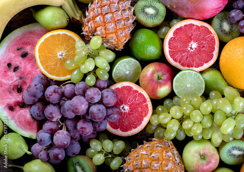 Foto op Aluminium Vruchten Fruits background. Healthy eating concept. Top view.