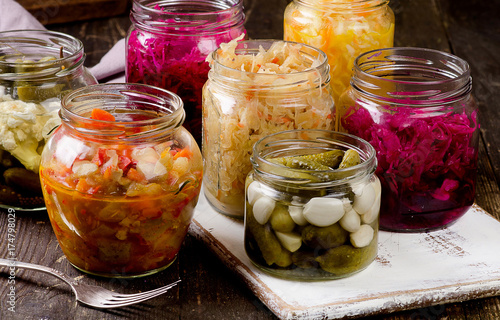 Fotografie, Obraz  Fermented vegetables in jars