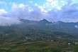 Cloud covered mountain village in Sapa, Vietnam