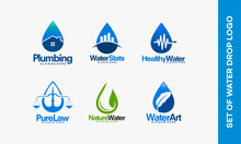 Set Of Drop Water Logo Template Vector, Plumbing Installation, Water Stats, Medical Water, Healthy Water, Pure Law,  Nature Water, Water Art Vector Illustration