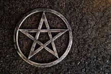 Gray Metal Pentagram On Slate ...