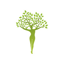 Yoga Emblem With Abstract Woman Tree Pose Isolated On White Background