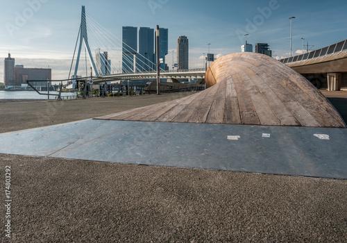Staande foto Rotterdam Rotterdam city cityscape skyline with Erasmus bridge and river. South Holland, Netherlands.