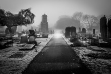 Graveyard In Black And White