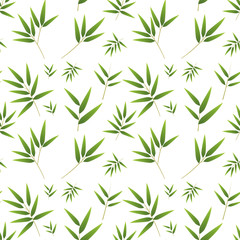 FototapetaSeamless bamboo pattern on white