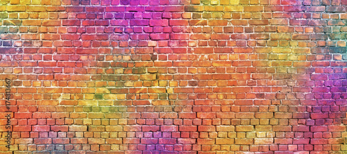 Poster Graffiti painted brick wall, abstract background of different colors