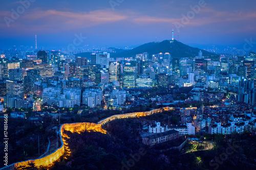 Obraz na dibondzie (fotoboard) Seoul skyline w nocy, w Korei Południowej.