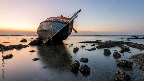 Foto op Canvas Schipbreuk boat crashes , beautiful sunset at the sea landscape Thailand
