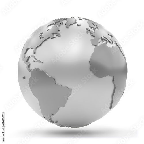 stylized silvery Earth showing Africa, Europe, North America and South America  Wall mural