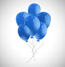 Lots Of Blue Balloons On White...