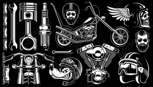 Fotografie, Tablou Motorcycle clipart with 14 elements on dark background.