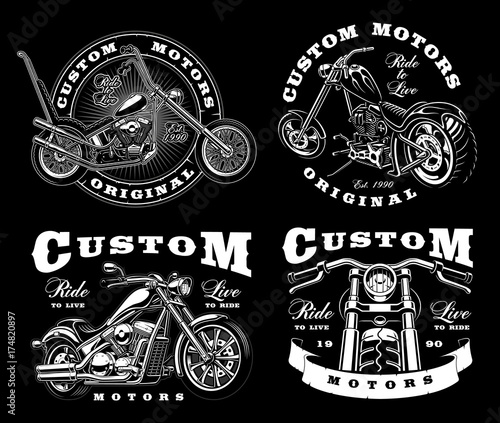 Tablou Canvas Set of 4 vintage biker illustrations on dark background_3