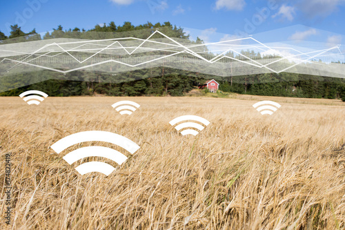 Foto  A field of wheat with symbols of wireless data exchange