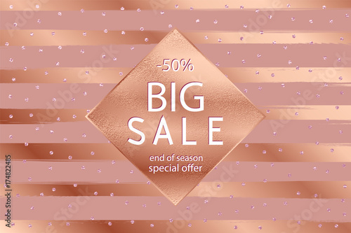 Fotografie, Obraz  Sale fall gold banner . Vector illustration with golden frame .