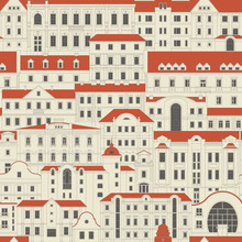 Vector Seamless Vintage Pattern Of Old Houses Of Nonexistent City. Thin Line Facades Are Arranged One Behind The Other. Buildings With Red Roofs On Beige Background.