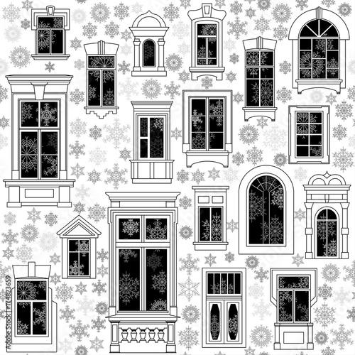 bezszwowy-wektorowy-boze-narodzenie-wzor-od-roznych-starych-okno-i-platkow-sniegu-wsrodku-i-outside-biale-tlo-czarne-o
