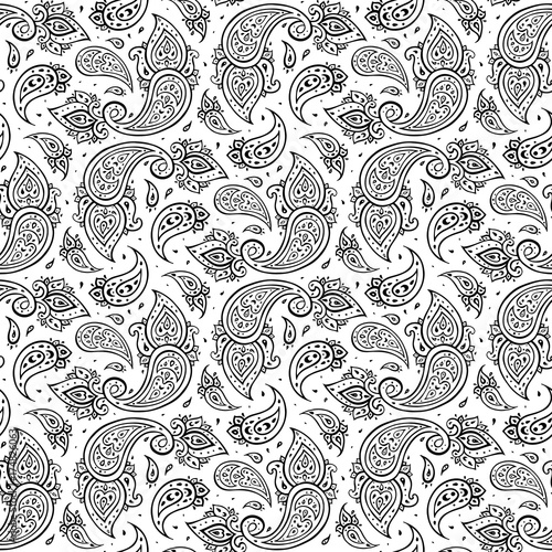 Cotton fabric Paisley Ethnic ornament.