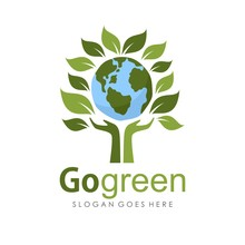Go Green And Earth Day Logo Il...