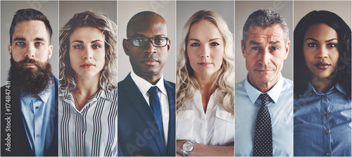 Focused group of ethnically diverse professional businessmen and Fotobehang