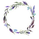 Wreath romantic watercolor purple Summer flowers frame - 174848605