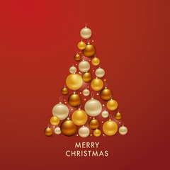 Christmas Tree from Golden Balls Background for your Greetings Card, Flyers, Invitation, Brochure, Posters, Banners, Calendar in vector