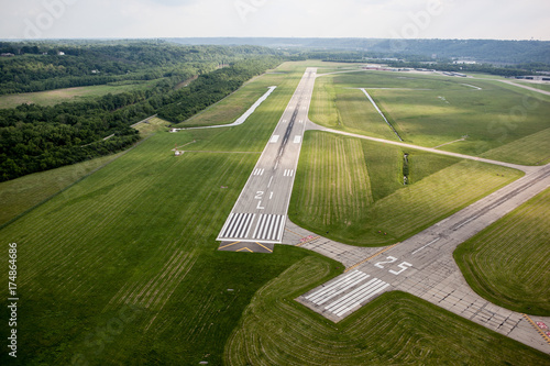 Aerial view of Runway at Lunken 21 Approach Canvas Print