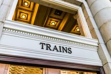 Transportation Train Sign Inside Building With Golden Lights