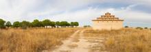 Vista Panoramica De Antiguo Palomar De Adobe Restaurado Al Lado De Un Bosque De Pinos Y Un Camino De Tierra