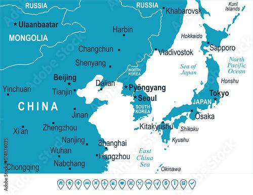 North Korea South Korea Japan China Russia Mongolia Map - Vector ...