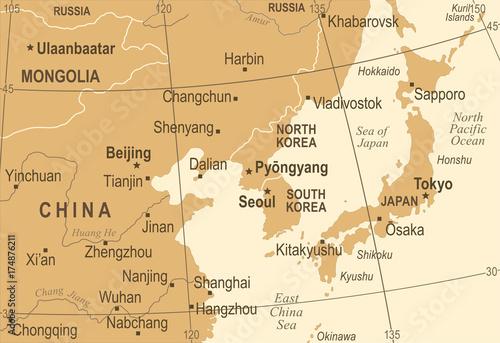 North Korea South Korea Japan China Russia Mongolia Map ...