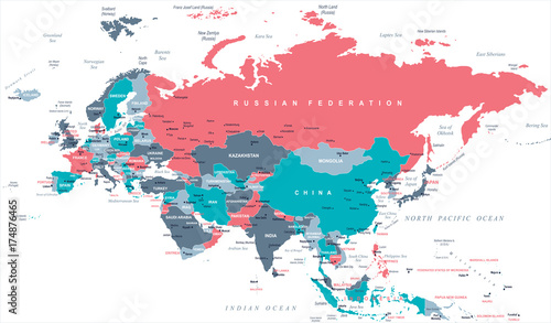 Photo Stands World Map Eurasia Europa Russia China India Indonesia Thailand Map - Vector Illustration