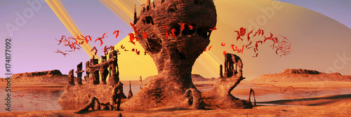 Foto op Canvas Baksteen alien planet landscape, flying red creatures swarming around mysterious rock formations at sunrise