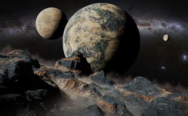 obcy krajobraz z planetą, księżycami i galaktyką Drogi Mlecznej