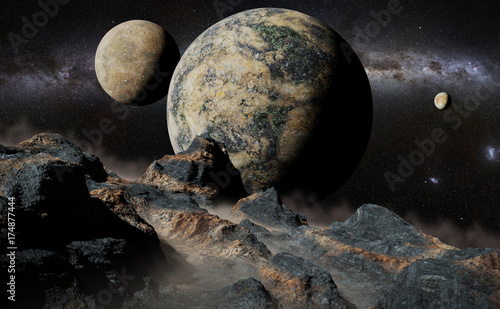 Foto op Plexiglas Zwart alien landscape with planet, moons and the Milky Way galaxy