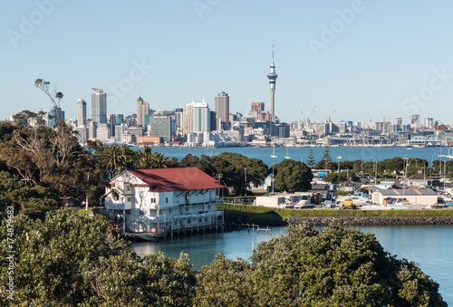 Auckland skyline with copy space