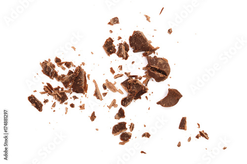 Poster Café en grains grated chocolate isolated on white background. Top view