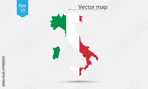 Simple Map Of Italy.Simple Map Silhouette Of Italy With Flag Vector Illustration Buy