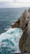 view from above of waves bumping against rocks. Cold morning on Cantabria sea, North Spain