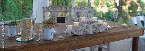 Brides Family Table Setting at Wedding Fototapet