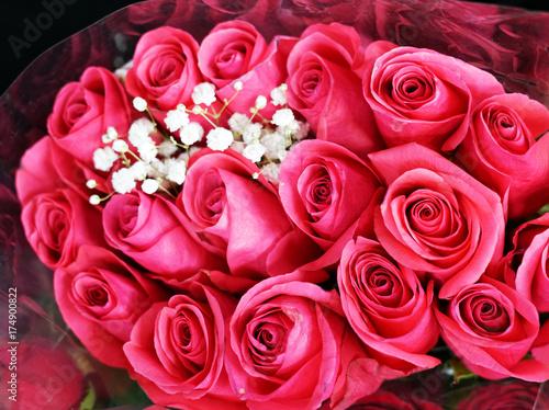 Plakat Bukieta kwiatu tło menchii róża