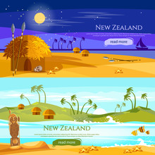 New Zealand Banners. Mountains And Beach Landscape, Natives. Village Of Aboriginals Maori Of New Zealand. Tradition And Culture New Zealand