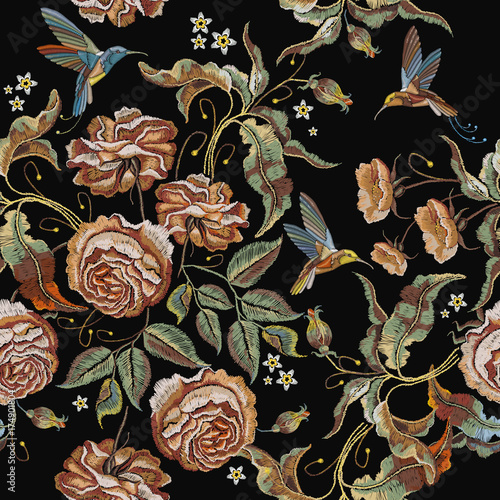 Roses embroidery seamless pattern Fototapet