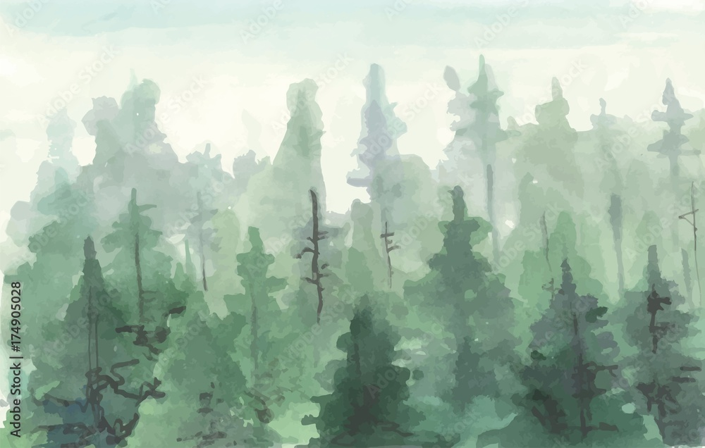 Hand Drawn painting of Winter Forest Landscape