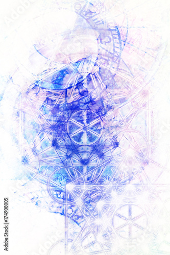 Fotobehang - Light merkaba and zodiac and marble background.