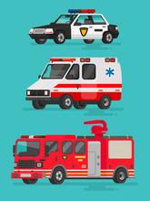 Set Of Emergency Vehicles. Pol...