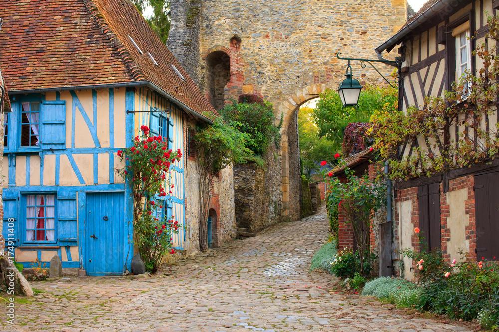 Fototapeta Gerberoy, village de l'Oise, Hauts-de-France, France