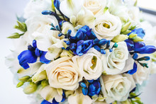 Beautiful Wedding Bridal Bouquet Of Blue And White Roses