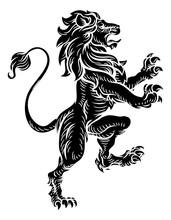 Heraldic Lion Standing Rampant...