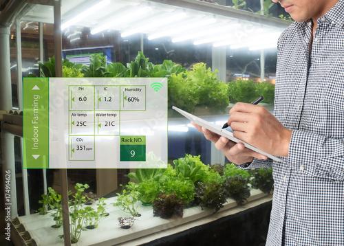 Fotografie, Obraz  smart agriculture in futuristic concept, farmer use technology to monitor, contr